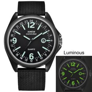 Чёрные часы «Xinew» с люминесцентными стрелками и цифрами и нейлоновым ремешком купить. Цена 335 грн