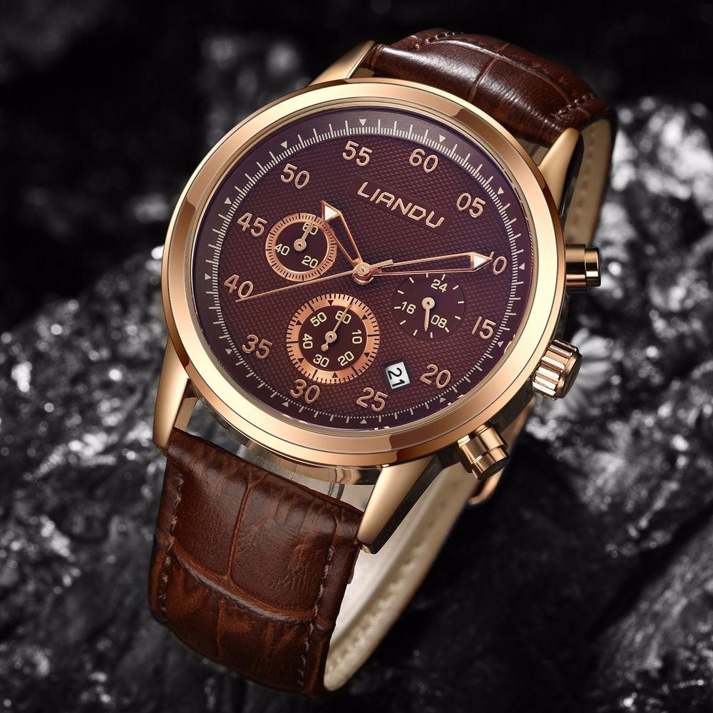 Кварцевые часы для мужчин «Liandu» с многофункциональным циферблатом купить. Цена 899 грн