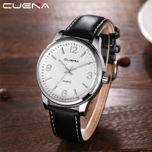 Деловые часы «Cuena» классического дизайна с чёрным ремешком фото. Купить