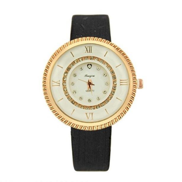 Круглые наручные часы «Ruijiu» с чёрным ремешком купить. Цена 290 грн