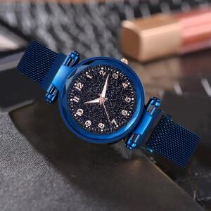 Популярные женские часы «Vansvar Starry Sky» с синим магнитным ремешком купить. Цена 299 грн