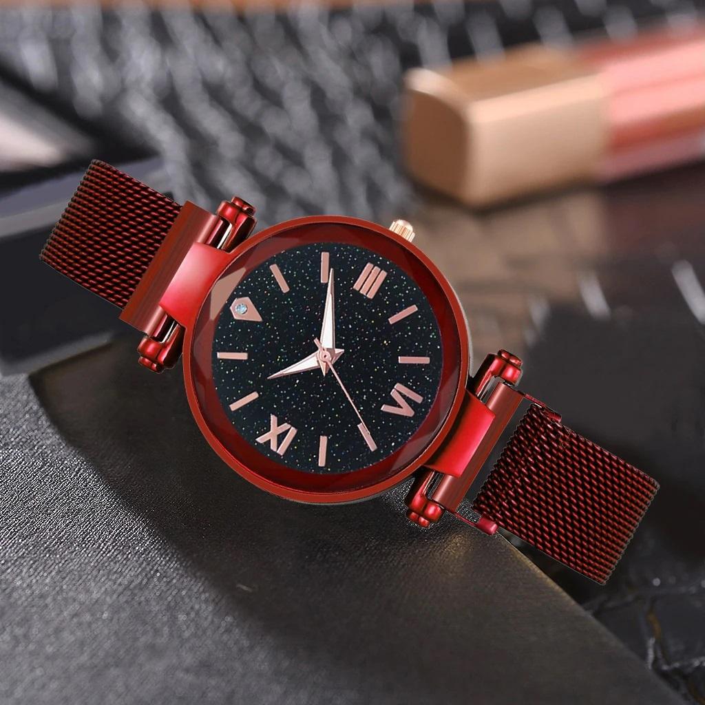 Яркие наручные часы «Vansvar Starry Sky» тёмно-красного цвета купить. Цена 335 грн