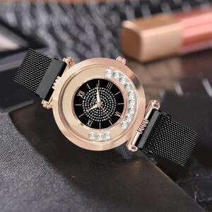 Гламурные часы «Vansvar» с чёрным металлическим ремешком на магните купить. Цена 335 грн