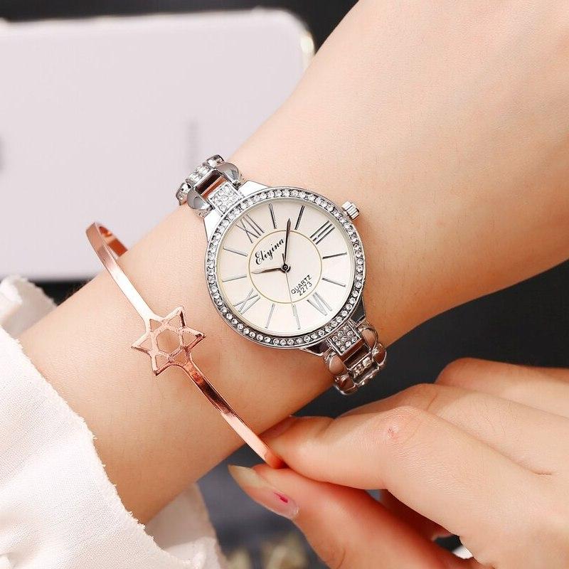 Аккуратные женские часы «Eliyina» с серебряного цвета корпусом и браслетом купить. Цена 475 грн