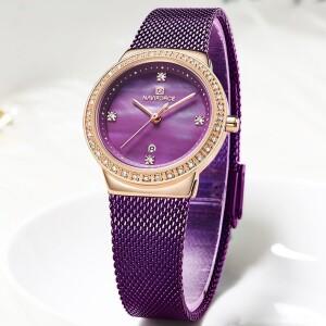 Небольшие женские часы «Naviforce» с датой и ремешком-кольчугой купить. Цена 990 грн