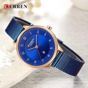 Красивые женские часы «Curren» с синим металлическим ремешком-кольчугой купить. Цена 899 грн