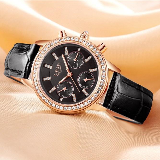 Классические женские часы «LIGE» с полным календарём и чёрным ремешком купить. Цена 899 грн