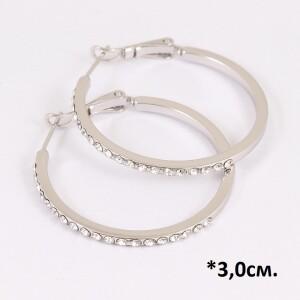 Серебристые серьги «Кольца Прут в стразах» с мелкими камнями и родиевым покрытием купить. Цена 185 грн