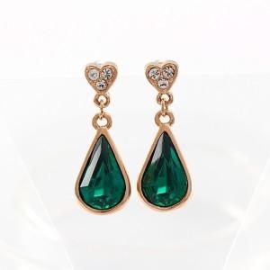 Каплевидные зелёные серьги «Дюшес» (бренд-ITALINA) с кристаллами Сваровски и золотым напылением купить. Цена 210 грн