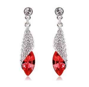 Серебристые серьги «Факел» с красными камнями и бесцветными стразами купить. Цена 125 грн