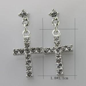 Серебристые серьги «Кресты» (бренд-ITALINA) с напылением под белое золото со стразами Сваровски фото 1