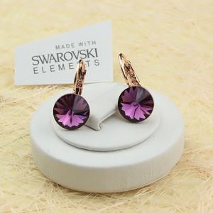 Пурпурные серьги «Аметрины» (бренд-ITALINA) с большим камнем Сваровски и 18-ти каратной позолотой фото. Купить