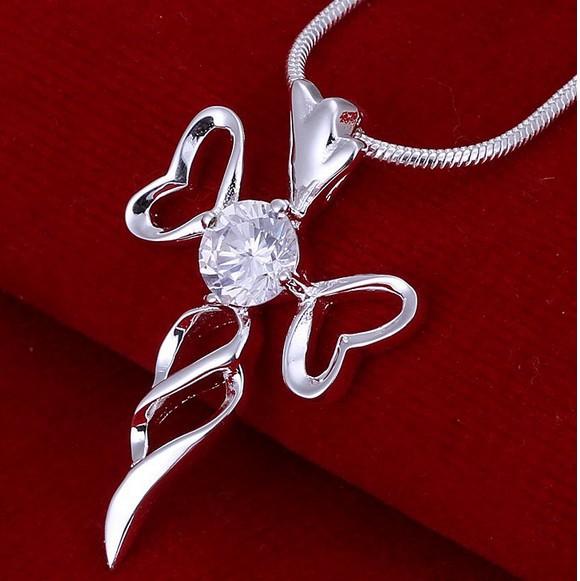 Посеребрённая подвеска «Крест» с красивым кулоном с цирконом в центре купить. Цена 130 грн