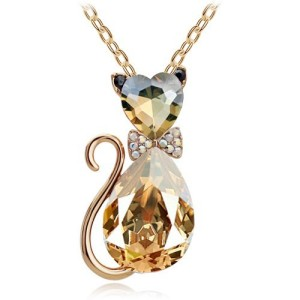 Хрустальная подвеска «Кошечка» с камнями золотисто-янтарного цвета купить. Цена 215 грн