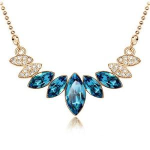 Синяя подвеска «Зёрна» с кулоном из кристаллов на оригинальной цепочке купить. Цена 190 грн