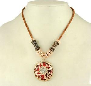 Хрустальная красная подвеска «Индира» с кулоном-медальоном и стразами фото. Купить