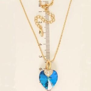 Романтичная подвеска «Сердце Океана» с голубым камнем Swarovski и позолотой фото. Купить