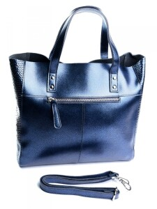 Красивая женская сумка «Alex Rai» из кожи синего цвета с перламутровым отливом фото 1