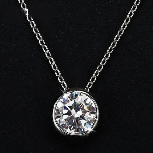 Скромная подвеска «Кристалл» с круглым камнем в серебристой оправе купить. Цена 155 грн