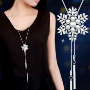Серебристая подвеска «Снежинка» на длинной тонкой цепочке фото. Купить