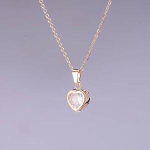 Милая подвеска «Золотое сердце» на тонкой цепочке золотого цвета фото. Купить