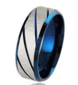 Синее кольцо «Luxury» из стали без камней и вставок купить. Цена 180 грн