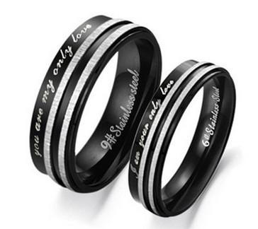 Парные чёрные кольца «Luxury» из стали с двумя серебристыми полосами и надписями купить. Цена 180 грн