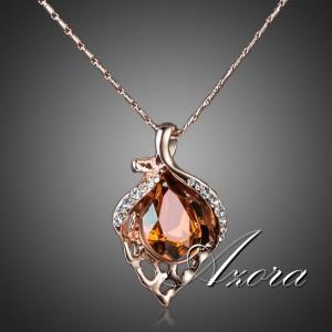 Великолепная подвеска «Пламя» (бренд-AZORA) с кулоном в виде листика с камнями Сваровски купить. Цена 299 грн