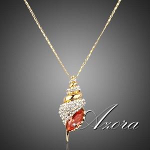 Красивая подвеска «Раковина» (бренд-AZORA) с кулоном с розовым и бесцветными камнями Сваровски фото. Купить