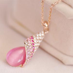 Розовая подвеска «Анюта» (бренд-ITALINA) с кулоном из кварца в форме капли и с кристаллами Сваровски купить. Цена 320 грн