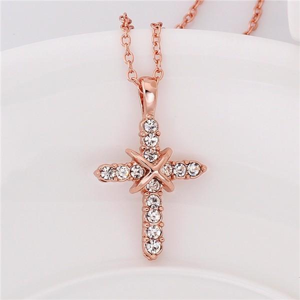 Простая подвеска «Епископ» с кулоном-крестиком с золотым напылением и камнями Сваровски купить. Цена 250 грн