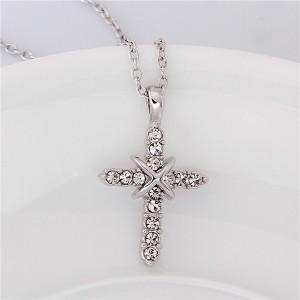 Позолоченная подвеска «Епископ в белом» (бренд-ITALINA) с кулоном в виде креста с кристаллами Сваровски купить. Цена 250 грн