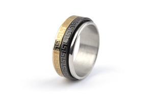 Широкое кольцо «Luxury» из стали с подвижными вставками с греческим орнаментом купить. Цена 180 грн