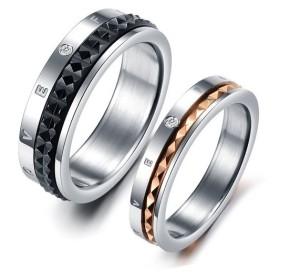 Красивые парные кольца «Luxury» из ювелирной стали с подвижной вставкой купить. Цена 180 грн или 565 руб.