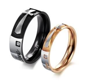 Оригинальные парные кольца «Luxury» из стали с изображением креста, надписями и фианитом купить. Цена 180 грн или 565 руб.
