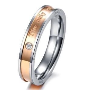 Стальное кольцо «Luxury» для девушки с надписями и маленьким прозрачным фианитом купить. Цена 180 грн