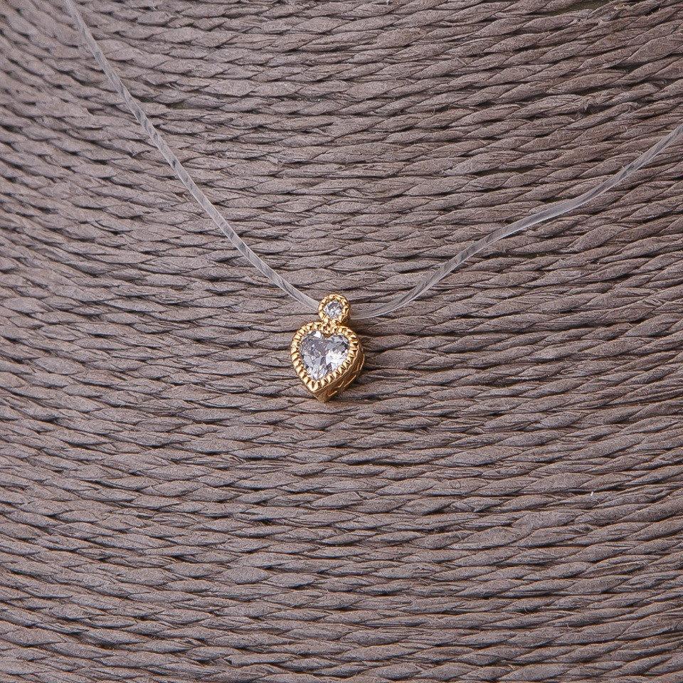 Миленькая подвеска «Сердце» с позолоченным кулоном на прозрачной леске купить. Цена 145 грн