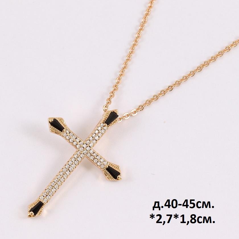 Шикарный крест «Кардинал» в россыпи мелких страз на тонкой позолоченной цепочке купить. Цена 285 грн