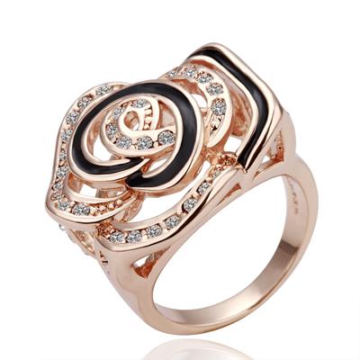 Крупное кольцо «Роза» с чёрной эмалью и бесцветными кристаллами купить. Цена 199 грн
