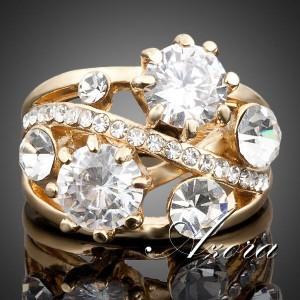 Нарядное кольцо «Блеск» (бренд-AZORA) с золотым покрытием и камнями Swarovski купить. Цена 270 грн
