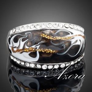 Чёрное кольцо «Колдовство» (бренд-AZORA) с эмалью, позолотой и кристаллами Сваровски купить. Цена 185 грн или 580 руб.