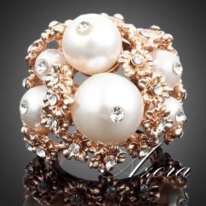 Большое кольцо «Барское» (бренд-AZORA) с белым жемчугом и стразами Сваровски купить. Цена 290 грн