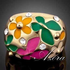 Яркое кольцо «Лето» (бренд-AZORA) с цветной эмалью, камнями Сваровски и золотым покрытием купить. Цена 250 грн