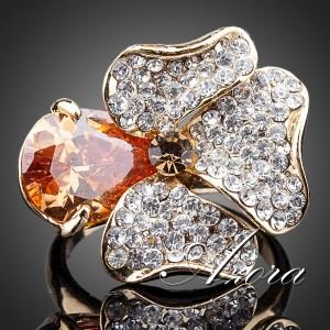 Оригинальое кольцо «Ирис» (бренд-AZORA) с позолотой и кристаллами Сваровски купить. Цена 290 грн