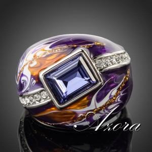 Великолепное кольцо «Вселенная» (AZORA) с камнями Сваровски, эмалью и покрытием из белого золота купить. Цена 330 грн