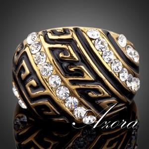 Позолоченное кольцо «Византия» (бренд-AZORA) в греческом стиле с камнями Сваровски купить. Цена 290 грн или 910 руб.