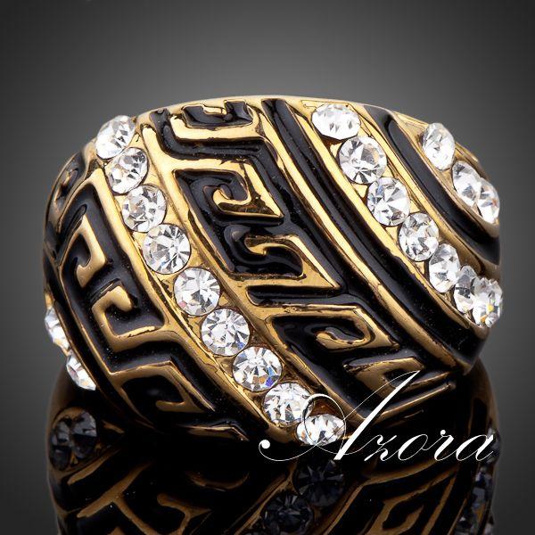 Позолоченное кольцо «Византия» (бренд-AZORA) в греческом стиле с камнями Сваровски купить. Цена 290 грн