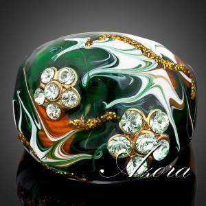 Зелёное кольцо «Оракул» (бренд-AZORA) с эмалью, позолотой и кристаллами Сваровски купить. Цена 399 грн