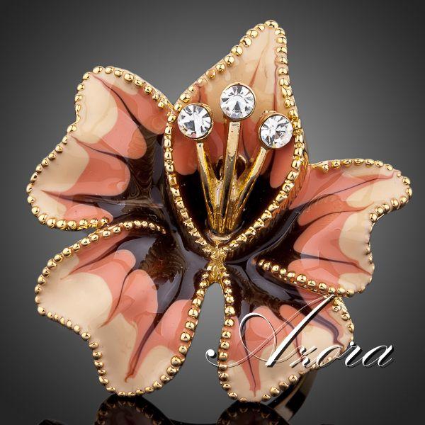 Декоративное кольцо «Романтика» (бренд-AZORA) с цветной эмалью и позолотой купить. Цена 165 грн