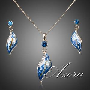 Элегантный комплект «Сияние» (бренд-AZORA) с бело-синей эмалью, позолотой и кристаллами Сваровски фото. Купить
